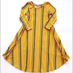 Boutique Pomelo mustard striped dress 14 16